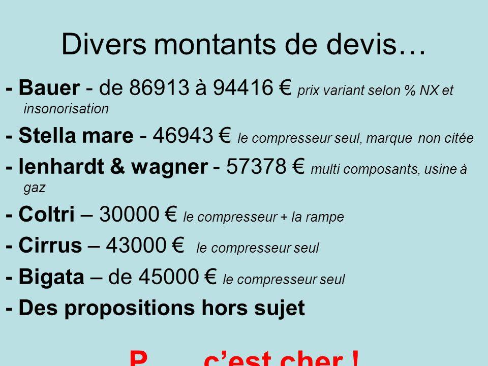 Divers montants de devis… - Bauer - de 86913 à 94416 prix variant selon % NX et insonorisation - Stella mare - 46943 le compresseur seul, marque non c