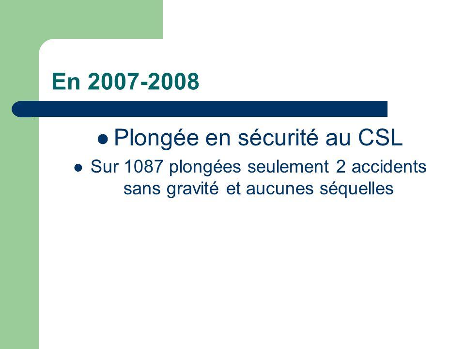 En 2007-2008 Plongée en sécurité au CSL Sur 1087 plongées seulement 2 accidents sans gravité et aucunes séquelles