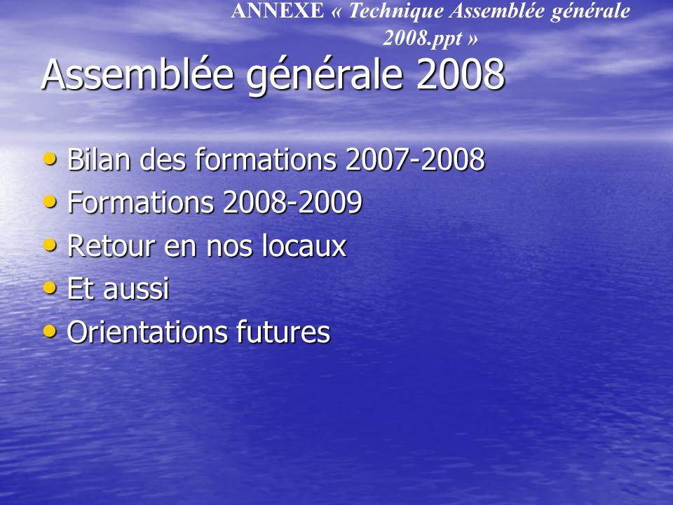 Assemblée générale 2008 Bilan des formations 2007-2008 Bilan des formations 2007-2008 Formations 2008-2009 Formations 2008-2009 Retour en nos locaux R