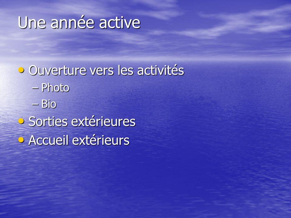 Une année active Ouverture vers les activités Ouverture vers les activités –Photo –Bio Sorties extérieures Sorties extérieures Accueil extérieurs Accu