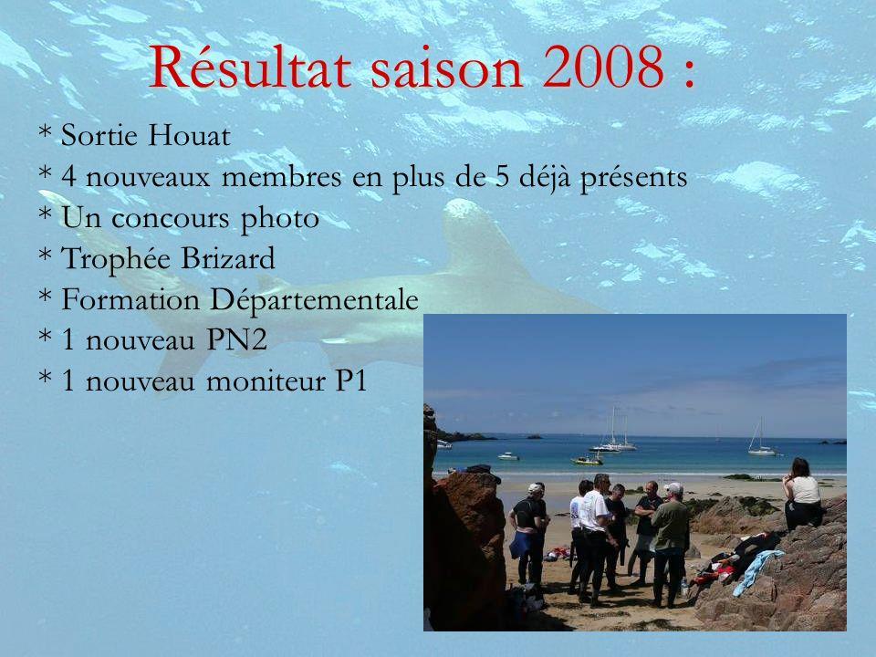 * Sortie Houat * 4 nouveaux membres en plus de 5 déjà présents * Un concours photo * Trophée Brizard * Formation Départementale * 1 nouveau PN2 * 1 no