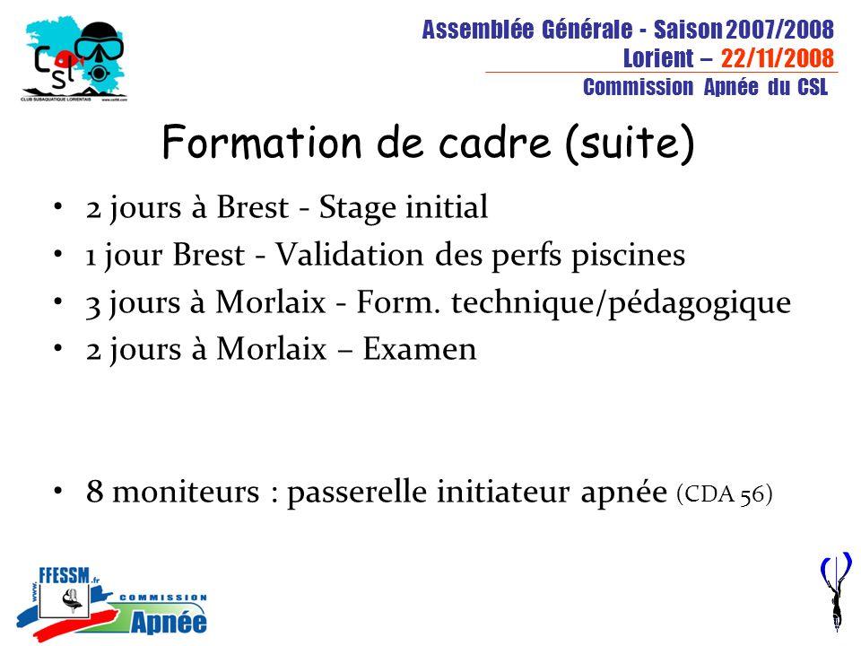 Assemblée Générale - Saison 2007/2008 Lorient – 22/11/2008 Commission Apnée du CSL Formation de cadre (suite) 2 jours à Brest - Stage initial 1 jour B