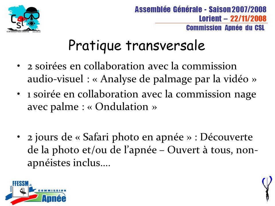 Assemblée Générale - Saison 2007/2008 Lorient – 22/11/2008 Commission Apnée du CSL Pratique transversale 2 soirées en collaboration avec la commission