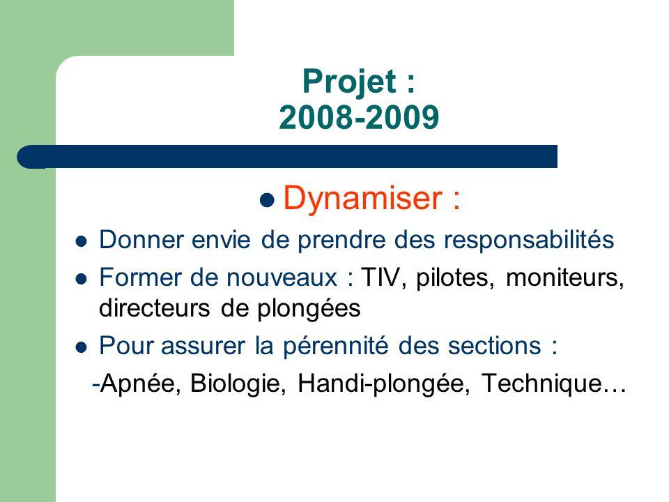 Projet : 2008-2009 Sécurités : Recyclage des moniteurs : Plongex, exercices Formation de secouriste (RIFAA, RIFAP ) Renouvellement du parc du matériel 1/5 Innovant : NITROX 1er club associatif de Bretagne à avoir un compresseur à membrane