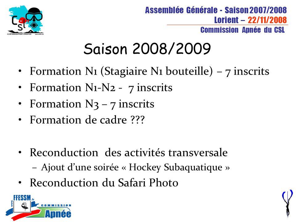 Assemblée Générale - Saison 2007/2008 Lorient – 22/11/2008 Commission Apnée du CSL Saison 2008/2009 Formation N1 (Stagiaire N1 bouteille) – 7 inscrits