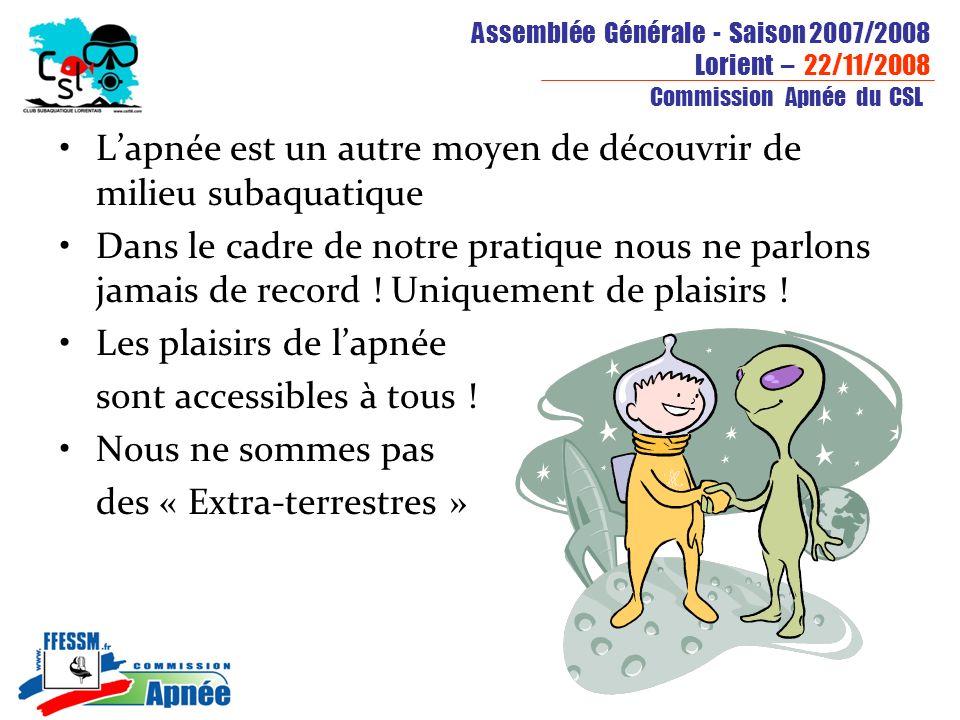 Assemblée Générale - Saison 2007/2008 Lorient – 22/11/2008 Commission Apnée du CSL Lapnée est un autre moyen de découvrir de milieu subaquatique Dans