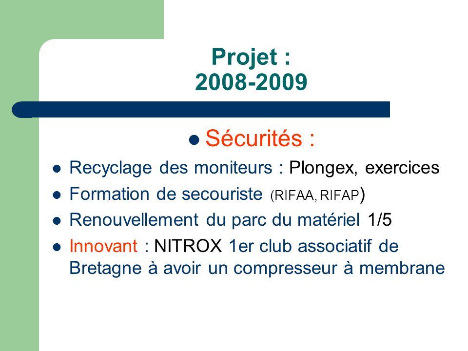 Projet : 2008-2009 Sécurités : Recyclage des moniteurs : Plongex, exercices Formation de secouriste (RIFAA, RIFAP ) Renouvellement du parc du matériel