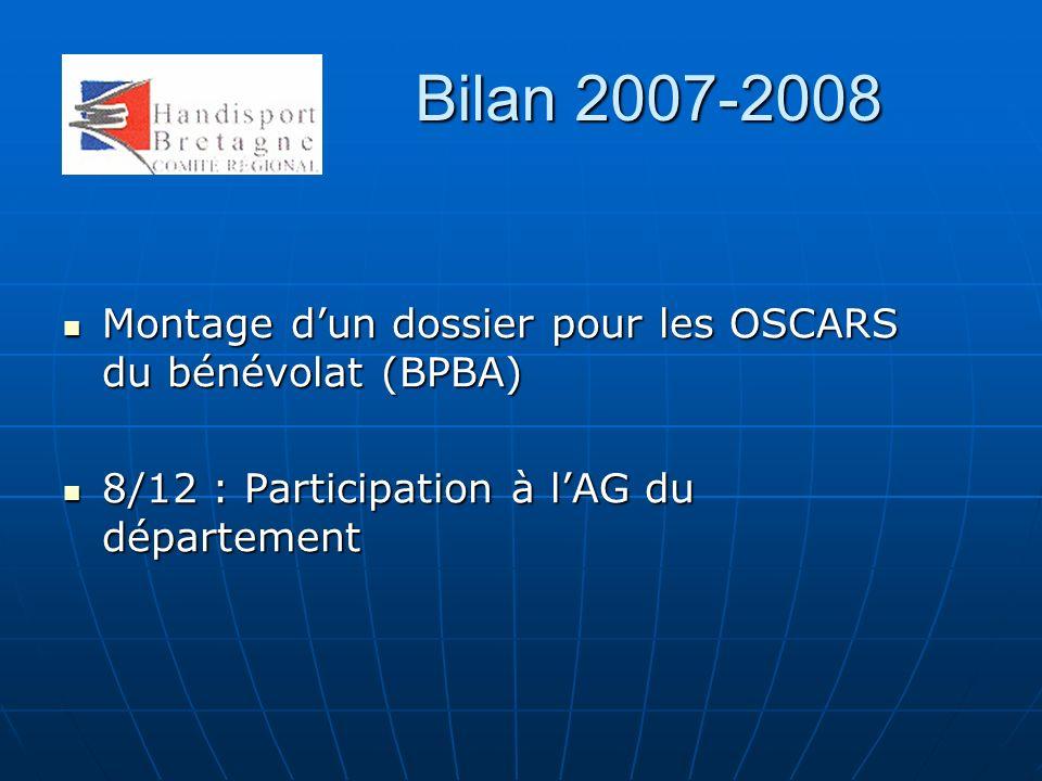Bilan 2007-2008 Montage dun dossier pour les OSCARS du bénévolat (BPBA) Montage dun dossier pour les OSCARS du bénévolat (BPBA) 8/12 : Participation à