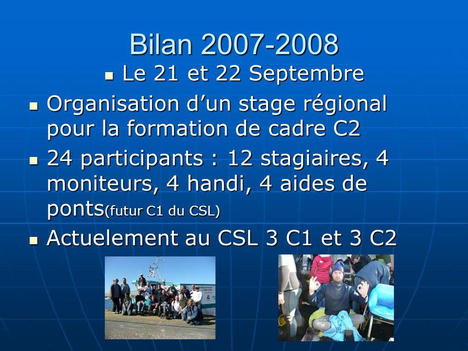 Bilan 2007-2008 Le 21 et 22 Septembre Le 21 et 22 Septembre Organisation dun stage régional pour la formation de cadre C2 Organisation dun stage régio