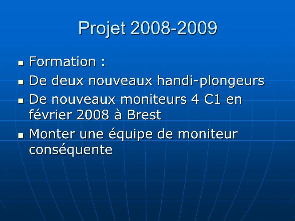 Projet 2008-2009 Formation : Formation : De deux nouveaux handi-plongeurs De deux nouveaux handi-plongeurs De nouveaux moniteurs 4 C1 en février 2008