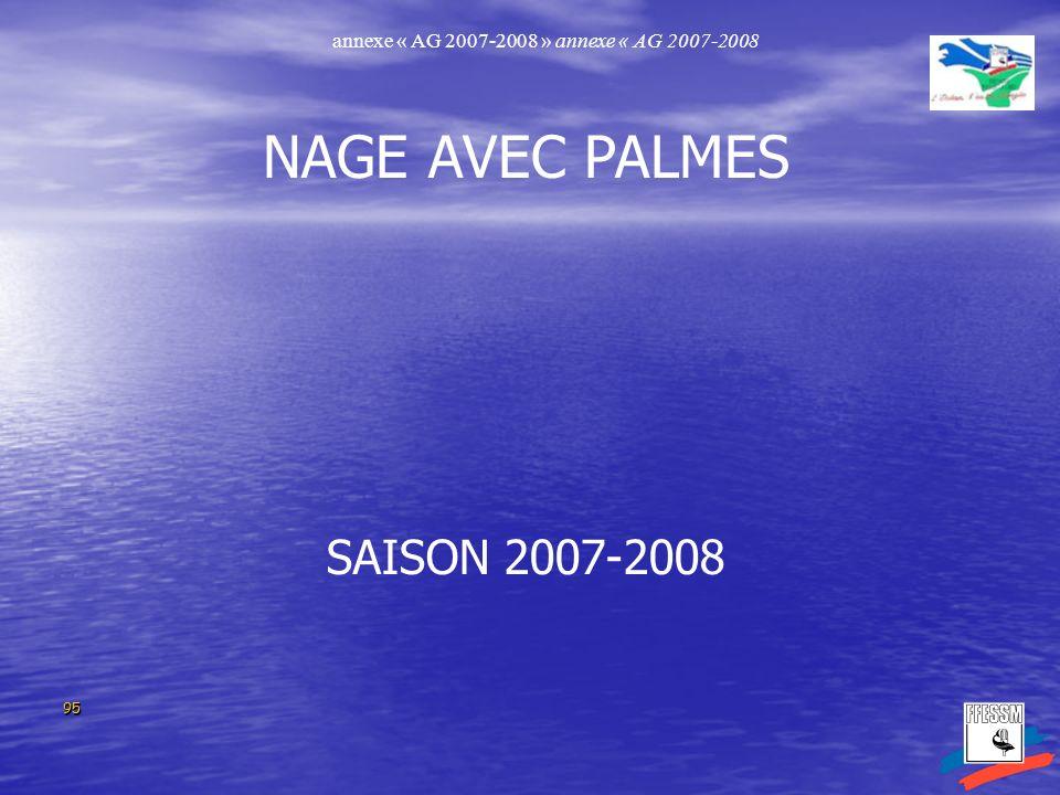 9595 NAGE AVEC PALMES SAISON 2007-2008 annexe « AG 2007-2008 » annexe « AG 2007-2008