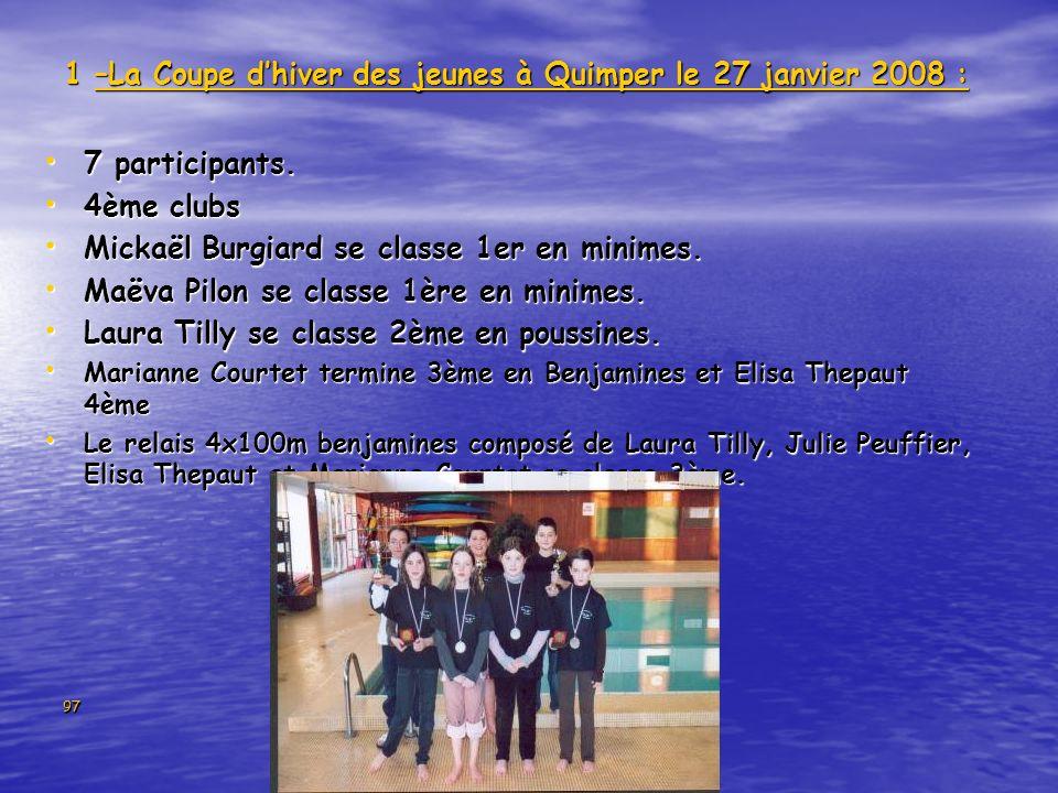 97 1 –La Coupe dhiver des jeunes à Quimper le 27 janvier 2008 : 7 participants. 7 participants. 4ème clubs 4ème clubs Mickaël Burgiard se classe 1er e