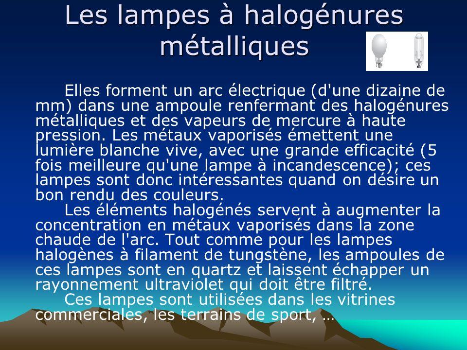 Les lampes à halogénures métalliques Elles forment un arc électrique (d'une dizaine de mm) dans une ampoule renfermant des halogénures métalliques et