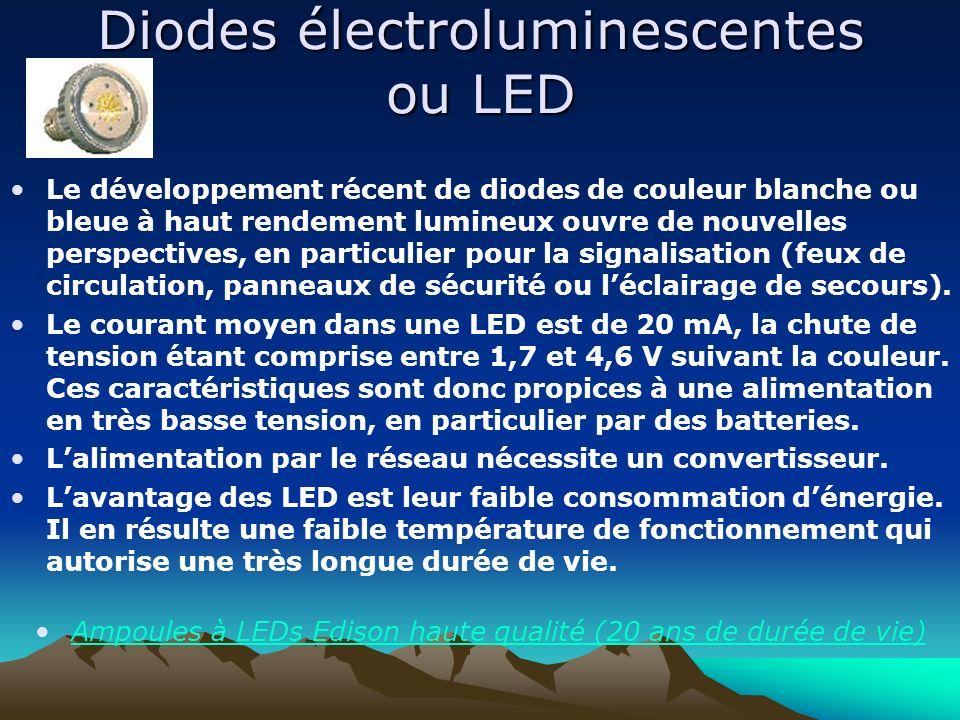 Diodes électroluminescentes ou LED Le développement récent de diodes de couleur blanche ou bleue à haut rendement lumineux ouvre de nouvelles perspect