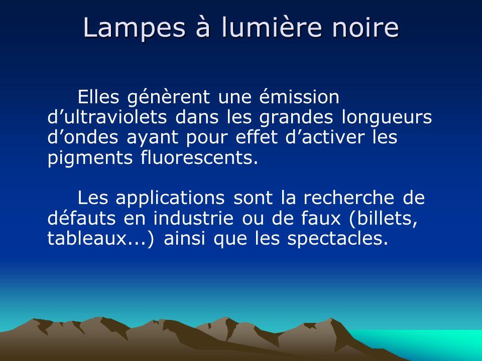 Lampes à lumière noire Elles génèrent une émission dultraviolets dans les grandes longueurs dondes ayant pour effet dactiver les pigments fluorescents