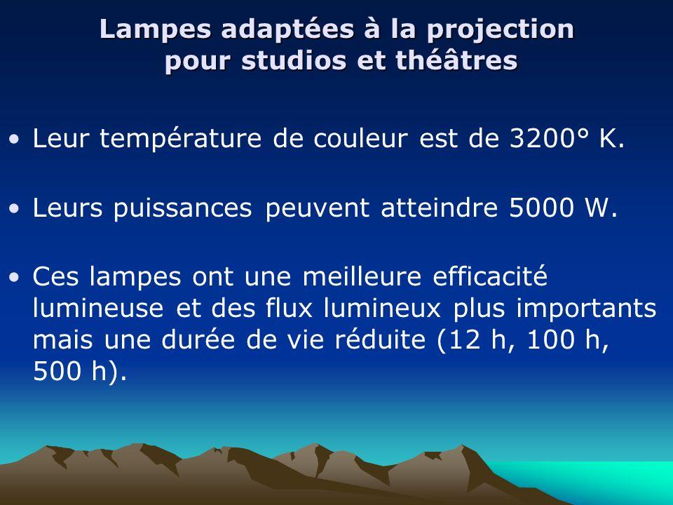 Lampes adaptées à la projection pour studios et théâtres Leur température de couleur est de 3200° K. Leurs puissances peuvent atteindre 5000 W. Ces la