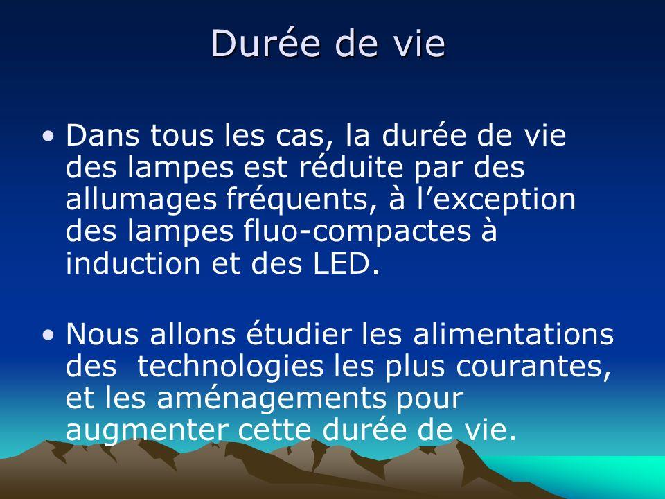 Durée de vie Dans tous les cas, la durée de vie des lampes est réduite par des allumages fréquents, à lexception des lampes fluo-compactes à induction