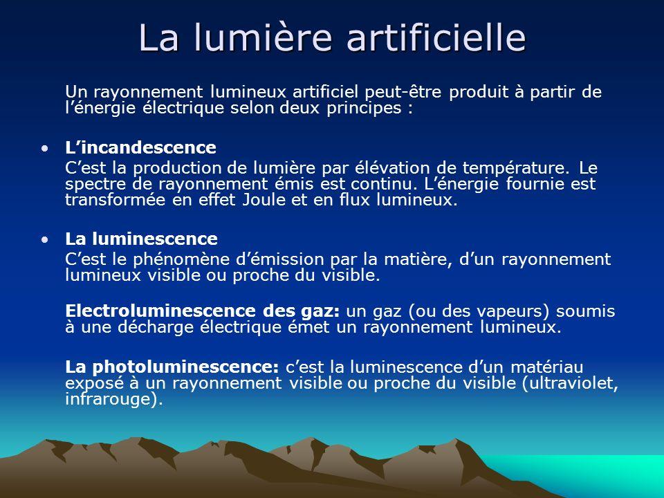 La lumière artificielle Un rayonnement lumineux artificiel peut-être produit à partir de lénergie électrique selon deux principes : Lincandescence Ces