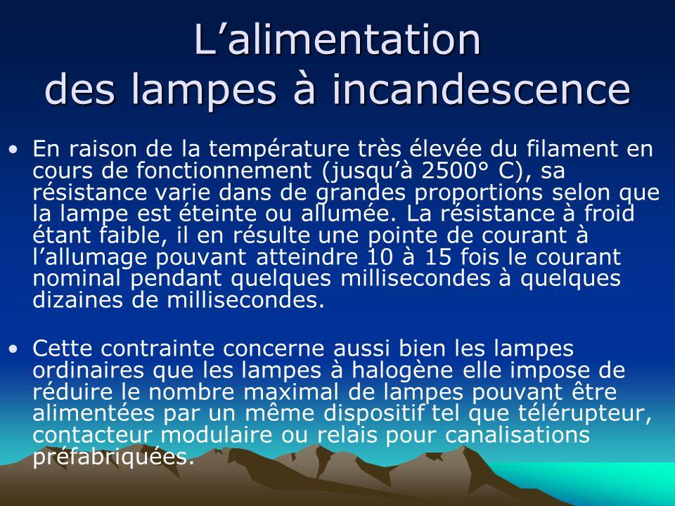 Lalimentation des lampes à incandescence En raison de la température très élevée du filament en cours de fonctionnement (jusquà 2500° C), sa résistanc