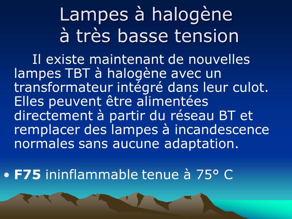 Lampes à halogène à très basse tension Il existe maintenant de nouvelles lampes TBT à halogène avec un transformateur intégré dans leur culot. Elles p