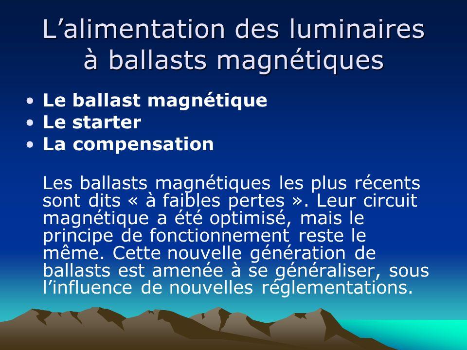 Lalimentation des luminaires à ballasts magnétiques Le ballast magnétique Le starter La compensation Les ballasts magnétiques les plus récents sont di