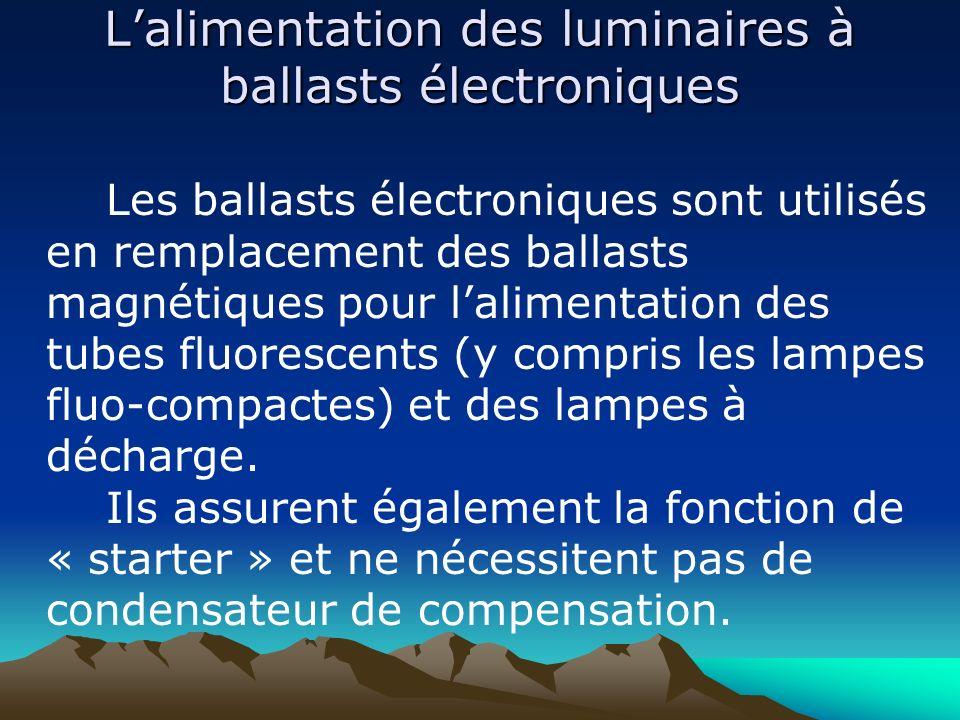 Lalimentation des luminaires à ballasts électroniques Les ballasts électroniques sont utilisés en remplacement des ballasts magnétiques pour lalimenta
