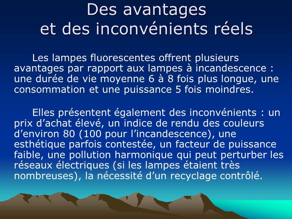 Des avantages et des inconvénients réels Les lampes fluorescentes offrent plusieurs avantages par rapport aux lampes à incandescence : une durée de vi