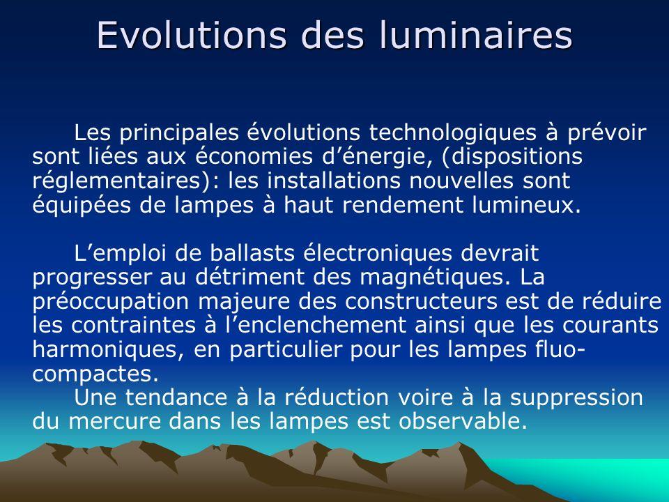 Evolutions des luminaires Les principales évolutions technologiques à prévoir sont liées aux économies dénergie, (dispositions réglementaires): les in