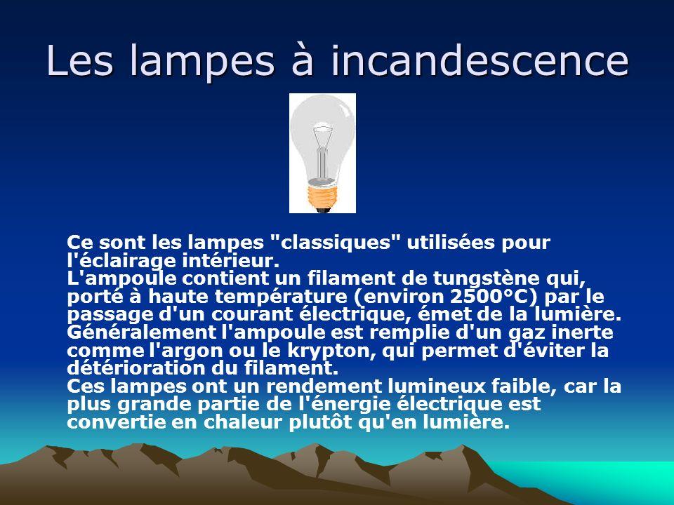 Les lampes à incandescence Ce sont les lampes