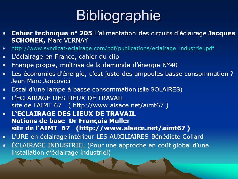 Bibliographie Cahier technique n° 205 Lalimentation des circuits déclairage Jacques SCHONEK, Marc VERNAY http://www.syndicat-eclairage.com/pdf/publica