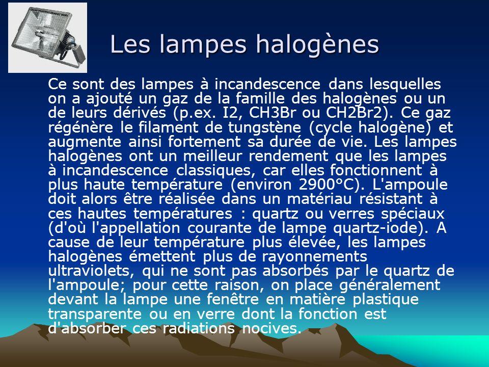 Les lampes halogènes Ce sont des lampes à incandescence dans lesquelles on a ajouté un gaz de la famille des halogènes ou un de leurs dérivés (p.ex. I