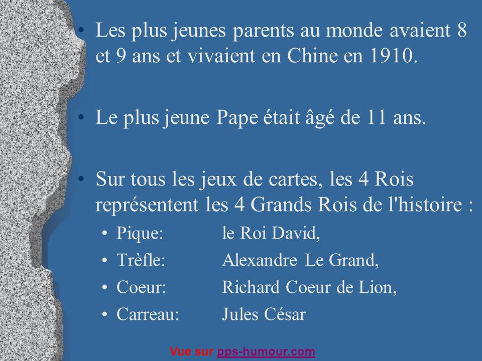 Les plus jeunes parents au monde avaient 8 et 9 ans et vivaient en Chine en 1910. Le plus jeune Pape était âgé de 11 ans. Sur tous les jeux de cartes,