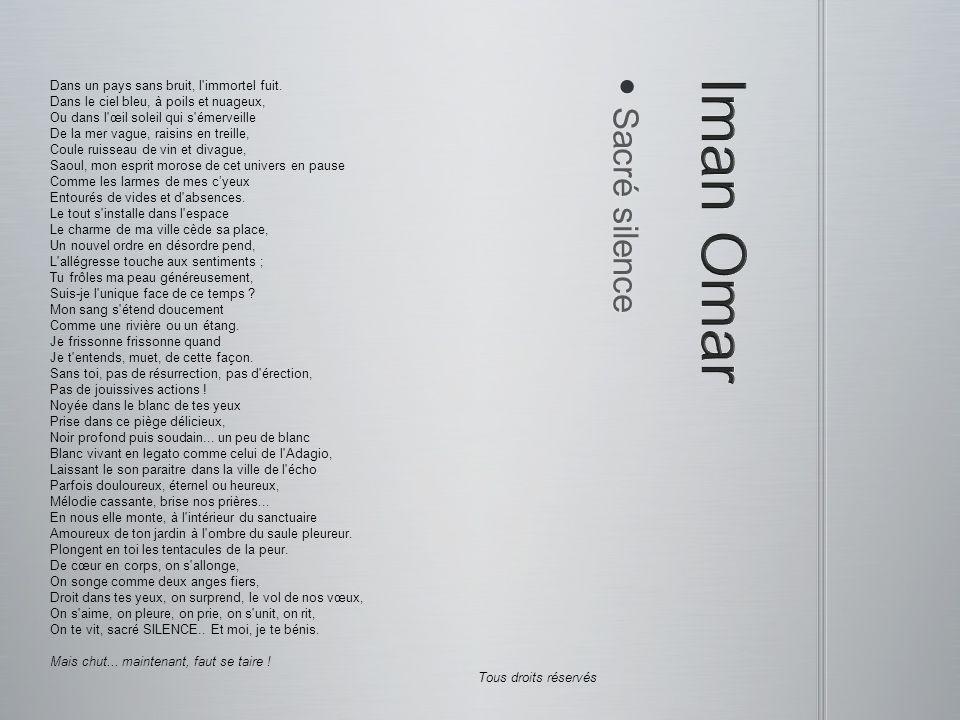 Adagio Adagio Tout simplement moi, perdu dans le silence De cette nuit d opale où tu n es presque plus là Et où le vent revient dans cette phrase rance Que tu dis doucement pour expliquer tout cela.