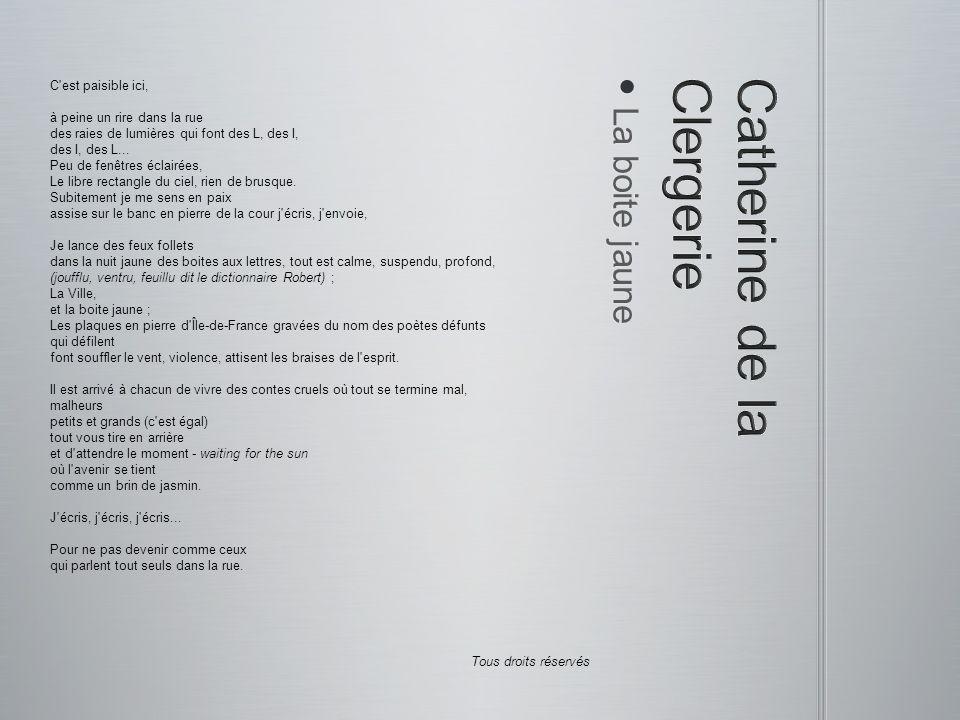 Le silence des poètes Le silence des poètes Si le silence vient prendre l homme à la gorge C est que le poème cherche à se déployer L Athanor contenant verbes et feux de forges Aux flammes consumant les bases du foyer Transcendance pétrie d ambigüité concrète La source des sources des légendes antiques Des souffles chaleureux ouvrant le tête-à-tête Sincère et vrai sans le choc frontal pathétique...
