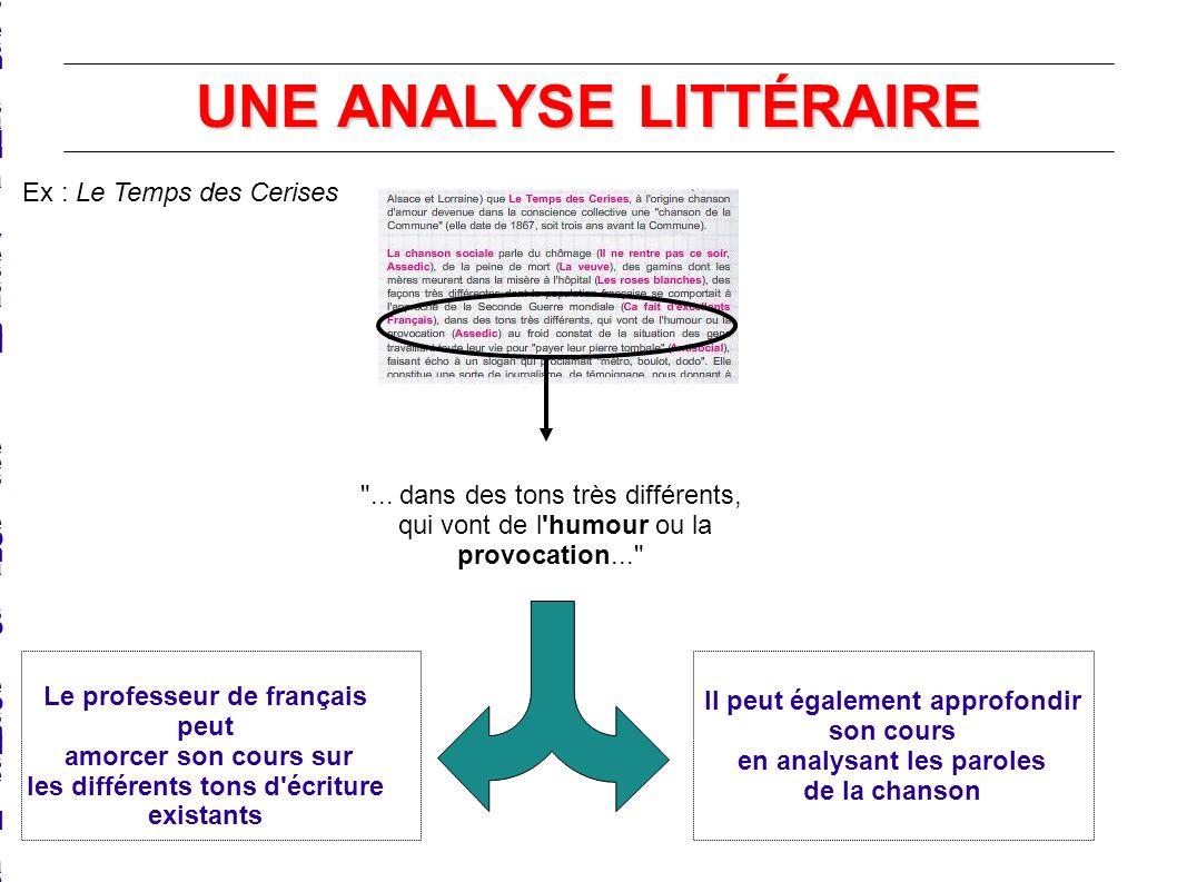 UNE ANALYSE LITTÉRAIRE Le professeur de français peut amorcer son cours sur les différents tons d'écritureexistantsLe professeur de français peut amor