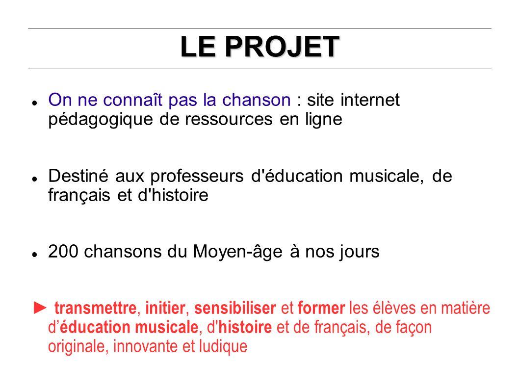 LE PROJET On ne connaît pas la chanson : site internet pédagogique de ressources en ligne Destiné aux professeurs d'éducation musicale, de français et