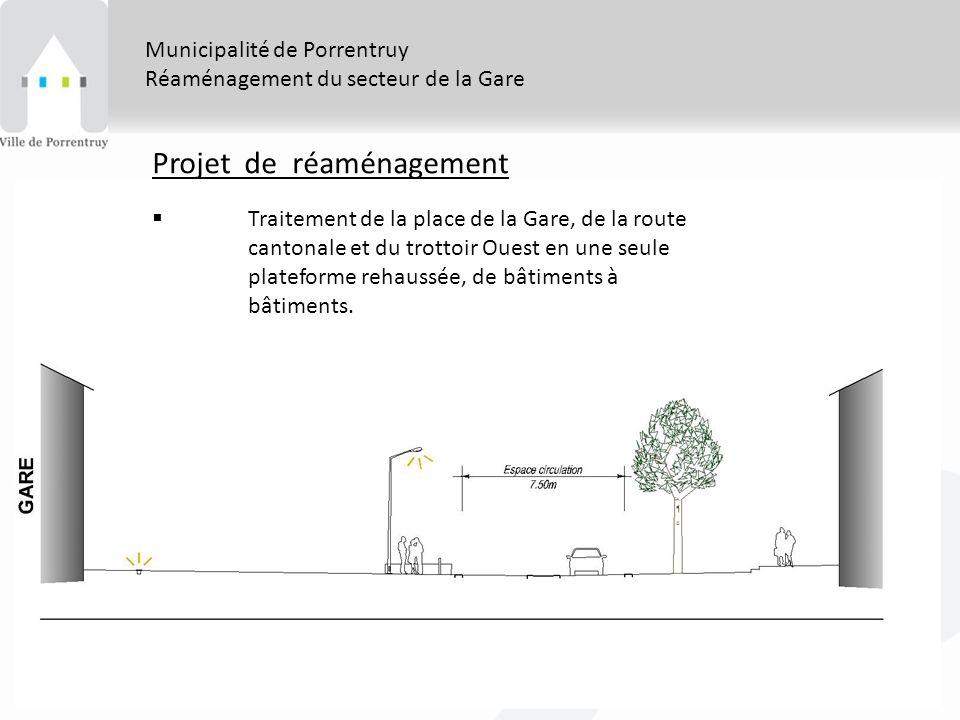 Municipalité de Porrentruy Réaménagement du secteur de la Gare Projet de réaménagement Traitement de la place de la Gare, de la route cantonale et du trottoir Ouest en une seule plateforme rehaussée, de bâtiments à bâtiments.