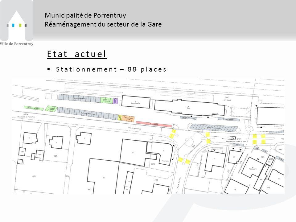 Municipalité de Porrentruy Réaménagement du secteur de la Gare Etat actuel Stationnement – 88 places