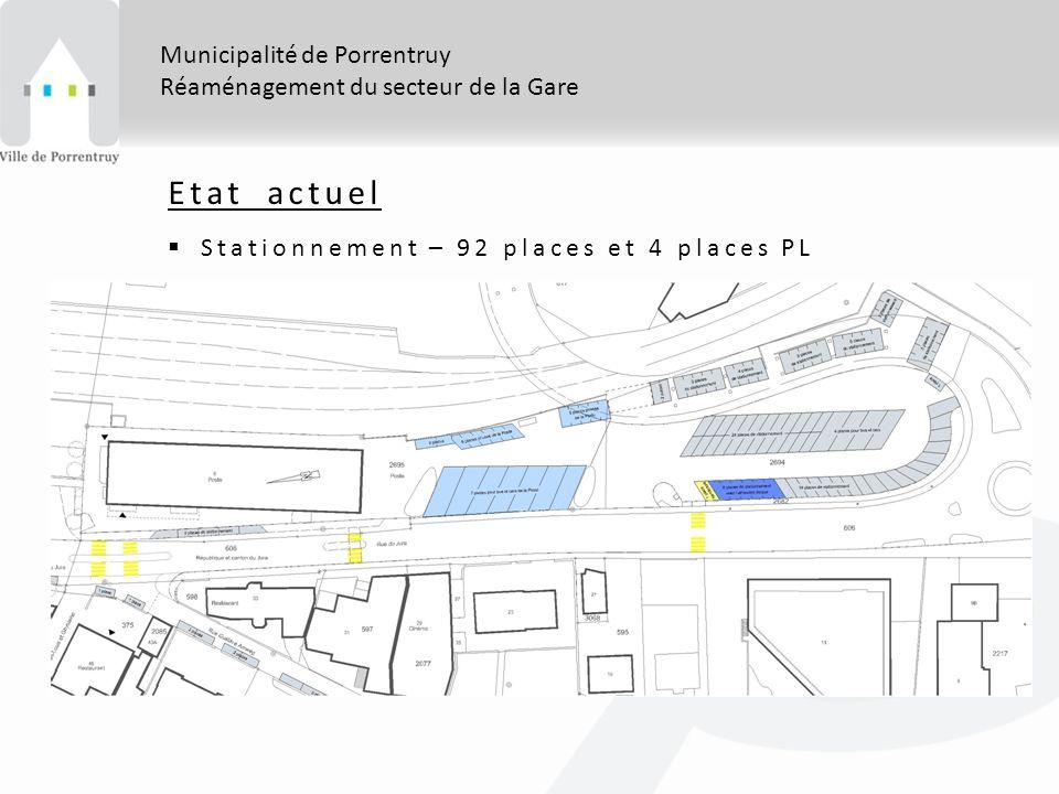 Municipalité de Porrentruy Réaménagement du secteur de la Gare Etat actuel Stationnement – 92 places et 4 places PL