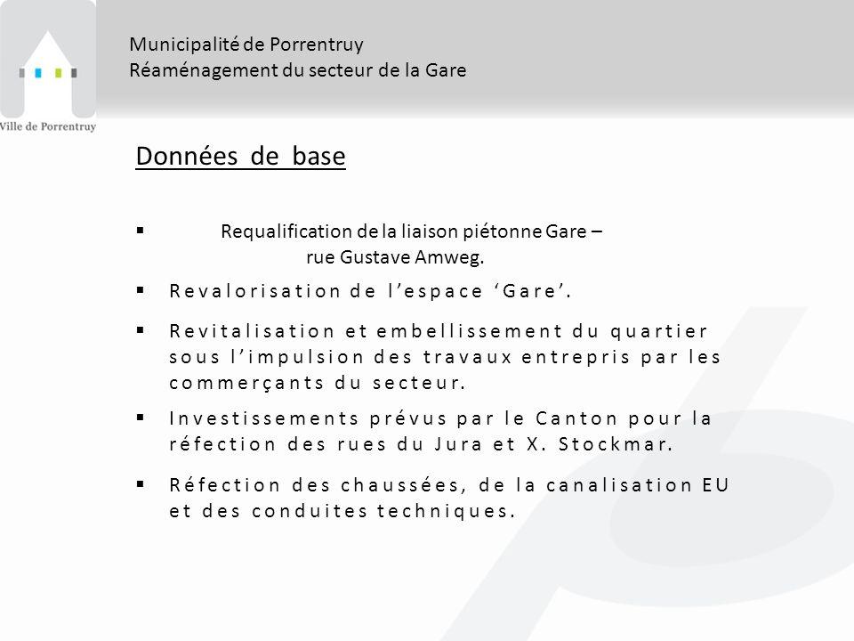 Municipalité de Porrentruy Réaménagement du secteur de la Gare Données de base Requalification de la liaison piétonne Gare – rue Gustave Amweg.