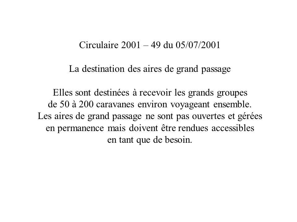 Circulaire 2001 – 49 du 05/07/2001 La destination des aires de grand passage Elles sont destinées à recevoir les grands groupes de 50 à 200 caravanes environ voyageant ensemble.