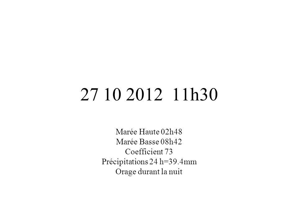 27 10 2012 11h30 Marée Haute 02h48 Marée Basse 08h42 Coefficient 73 Précipitations 24 h=39.4mm Orage durant la nuit