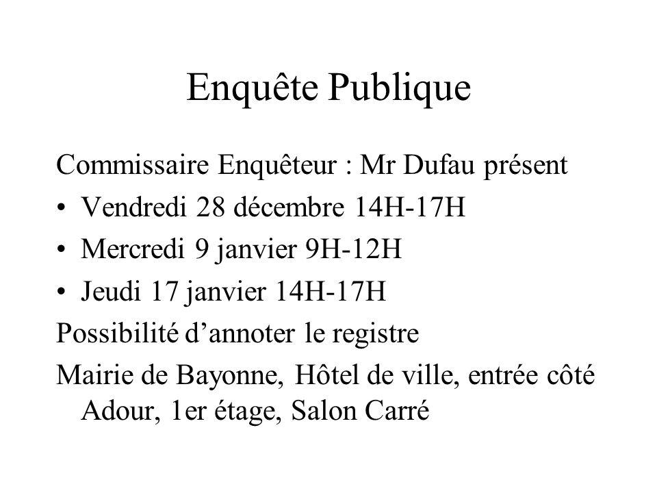 Enquête Publique Commissaire Enquêteur : Mr Dufau présent Vendredi 28 décembre 14H-17H Mercredi 9 janvier 9H-12H Jeudi 17 janvier 14H-17H Possibilité