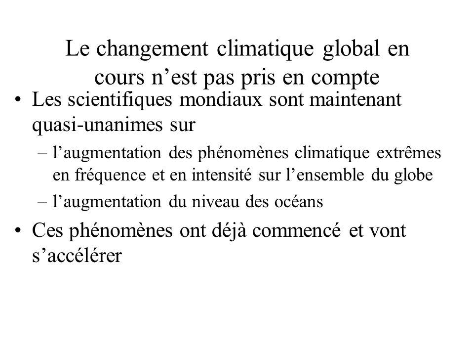 Le changement climatique global en cours nest pas pris en compte Les scientifiques mondiaux sont maintenant quasi-unanimes sur –laugmentation des phénomènes climatique extrêmes en fréquence et en intensité sur lensemble du globe –laugmentation du niveau des océans Ces phénomènes ont déjà commencé et vont saccélérer