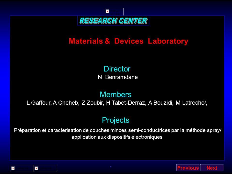 Applied Micro-electronic Laboratory Director Z Benamara members H Sehil, FS Bachir Bouiadjra, N Bachir Bouiadjra, B Akkal, M Chellali, M Amrani, ST Bo