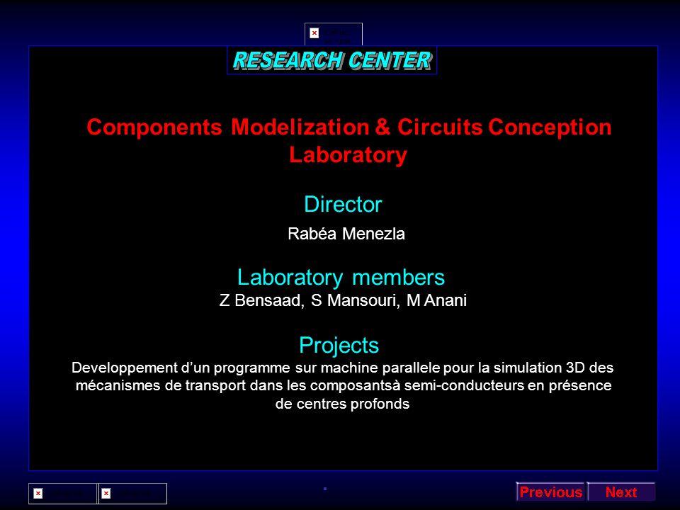 Industrial Micro-computing & Electronic Laboratory Director Mohamed El Hadi Louhibi Laboratory members M N Rahmani, M Elarbi-A Benmansour, A Rahmani,