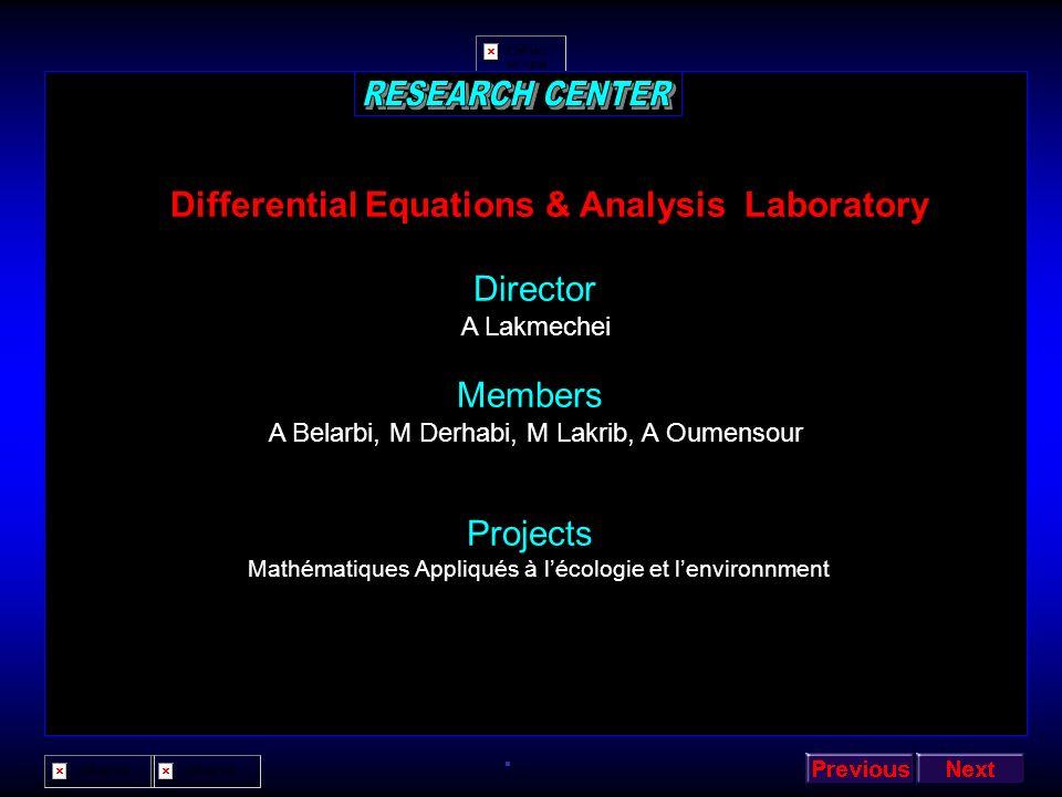Functional Analysis Laboratory Director A Hammoudi Members A Hakem, O Bouabdellah, B Chafi, M Mechab Projects Résolution de problèmes sur des domaines