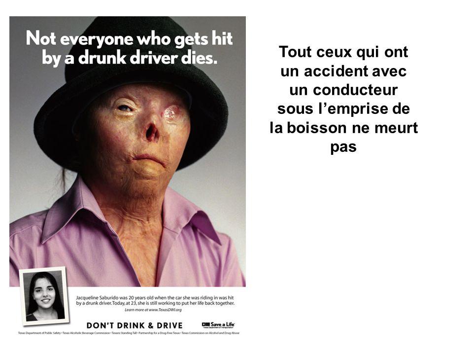 Tout ceux qui ont un accident avec un conducteur sous lemprise de la boisson ne meurt pas