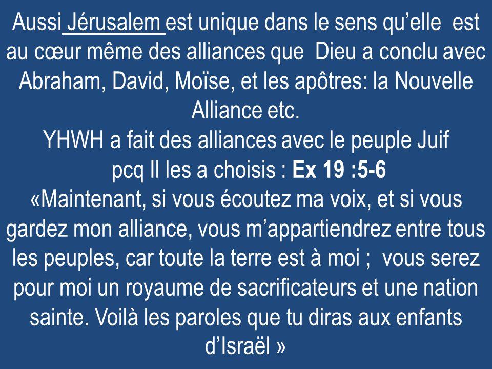 Aussi Jérusalem est unique dans le sens quelle est au cœur même des alliances que Dieu a conclu avec Abraham, David, Moïse, et les apôtres: la Nouvell