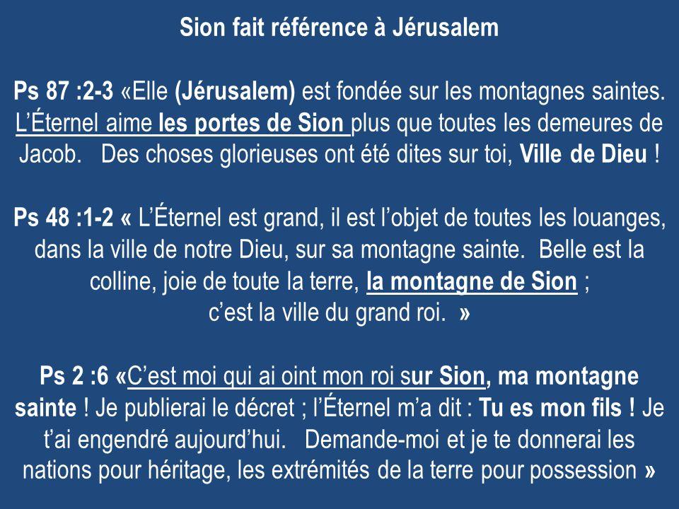 Sion fait référence à Jérusalem Ps 87 :2-3 «Elle (Jérusalem) est fondée sur les montagnes saintes. LÉternel aime les portes de Sion plus que toutes le
